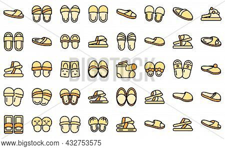 Home Slippers Icon. Outline Home Slippers Vector Icon Thin Line Color Flat Isolated On White