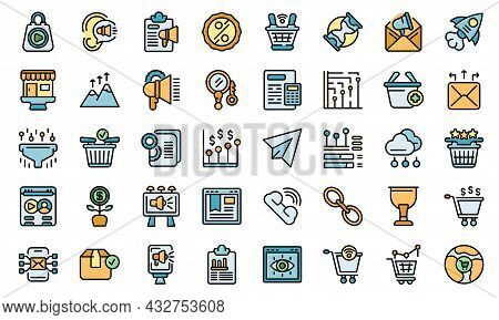 Marketing Filled Icon. Outline Marketing Filled Vector Icon Thin Line Color Flat Isolated On White