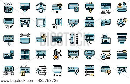 Repair Air Conditioner Icon. Outline Repair Air Conditioner Vector Icon Thin Line Color Flat Isolate