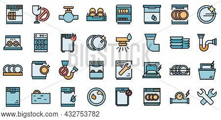 Repair Dishwasher Icons Set. Outline Set Of Repair Dishwasher Vector Icons Thin Line Color Flat Isol