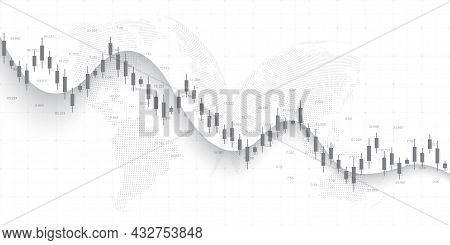 Abstract Financial Chart With Uptrend Line Graph And World Map On Black And White Color Background.