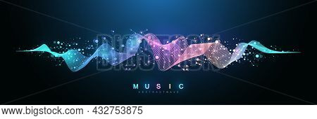 Music Wave Flow Poster Design With Lines And Dots. Sound Flyer With Abstract Gradient Line Waves. Mu