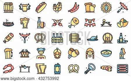 German Cuisine Icons Set Outline Vector. Cafe Sausage. German Chicken Cooking Color Flat