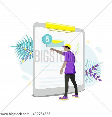 E-mail Marketing Concepts. Newsletter, Mail Notification. Social Network. Businessman Vector Illustr