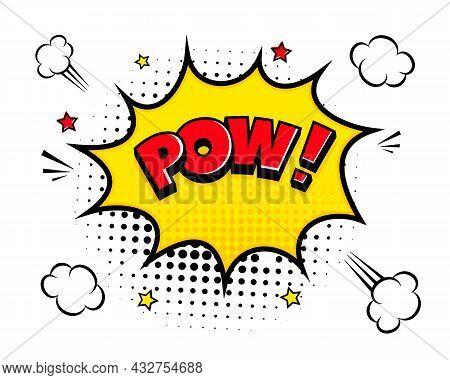 Pow Comic Speech Bubble Halftone Shadow Text Expression Retro Comic Style Flat Design. Dynamic Pop A