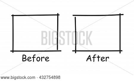 Before And After. Comparison Concept. The Path Of Progress. Vector Illustration