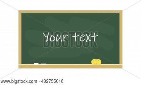 Chalkboard In A Wooden Frame With Place For Text. School Board Isolated On White Background. Vector