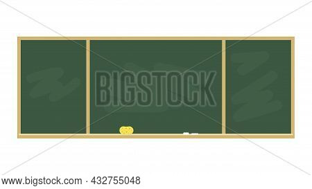 Chalkboard In A Wooden Frame With Place For Text. School Board With Chalk And Sponge Isolated On Whi