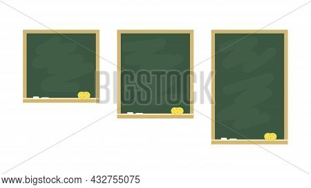 Set Of Chalkboards In Wooden Frames. School Boards With Chalk And Sponge Isolated On White Backgroun