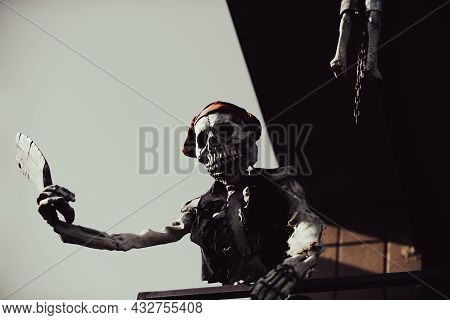 Halloween Skeleton Character In Pirate Monster Costume.
