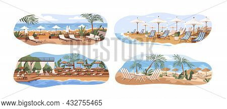 Sea And Ocean Beaches With Umbrellas And Deckchairs. Summer Landscapes Of Luxury Equipped Seaside Re