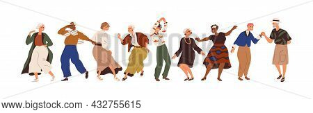 Aged People Having Fun At Senior Dance Party. Happy Old Man And Woman Dancing With Joy. Active Elder