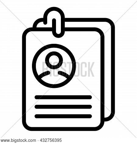 Cv Paper Icon Outline Vector. Office Contract. Human Document