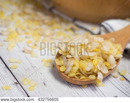 Breakfast Cereal Mixture Of Several Grains In A Wooden Spoon