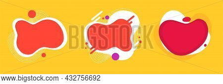 Abstract Fun Curved Fluid Background Shapes Elements Set Design For Kids Party Pattern Red Yellow Co