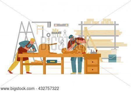 Carpenter Workshop Interior With Men Working. Carving On Wood, Making Furniture. Craftsman Flat Vect