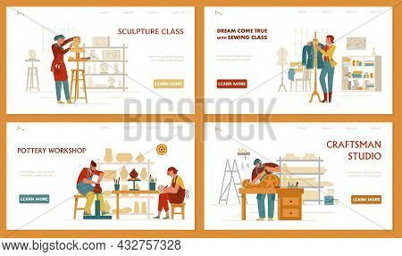 Crafts And Hobbies Set Of Vector Landing Page Templates. Sculpture, Sewing, Pottery, Сarpentry.