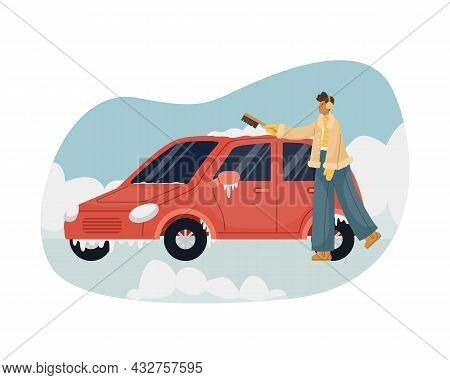 Vector Illustration Of A Man Sweeping Snow With A Brush From A Car.