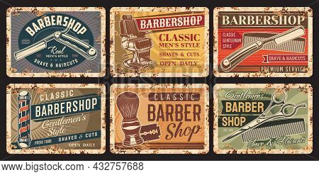 Barbershop And Haircut Rusty Plates. Gentlemen Hairdresser, Stylist Or Barbershop Equipment Grunge T