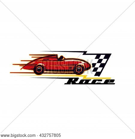 Racing Car Icon, Sport Rally Of Muscle Cars And Vintage Automobiles, Vector Symbol. Old Motors And E