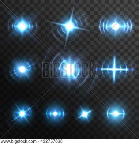 Blue Light Flares, Fiery Energy Burst Realistic Effects, Vector Star Shine. Blue Light Glow And Spar