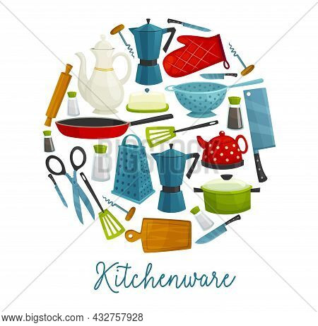 Home Kitchenware, Kitchen Utensils, Cooking Tools And Cutlery, Vector Restaurant And Household Acces