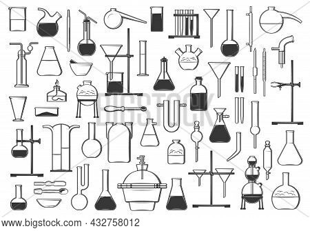 Chemical Test Tubes, Flasks, Retort And Tools. Chemistry, Biology Or Pharmacy Laboratory Equipment A