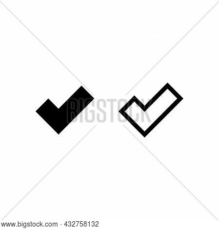 Valid Seal Icon. Black Tick Set. Line Ok Sticker Icon. Isolated On White. Accept Button. Good For We