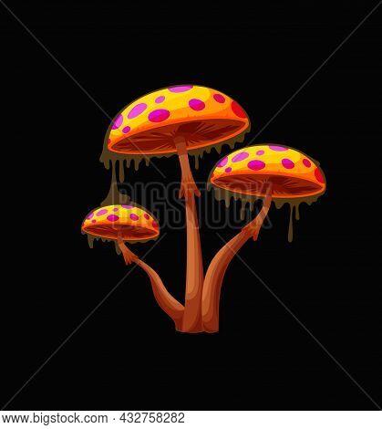 Fantasy Fairy Magic Mushroom With Orange Caps. Fantastic Fungus, Alien Planet Vibrant Colors Mushroo