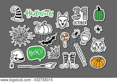 Happy Halloween Sticker Set. Isolated Sticker Pack On Grey. Lettering, Spider Web, Witch Cat, Bat, H