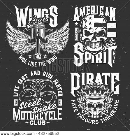 Tshirt Prints With Winged Engine Valves, Skulls And Cobra Vector Mascots For Motorcycle Club Apparel