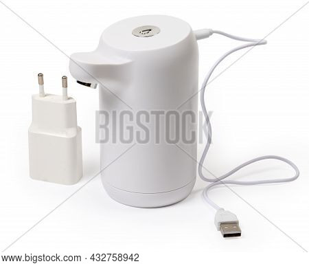 Domestic Electric Pump For Installation On A Drinking Water Carboy With Connected Usb Battery Chargi