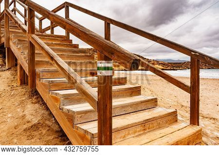 Wooden Stairway At Carolina Beach, Mediterranean Sea, Murcia Region Spain.
