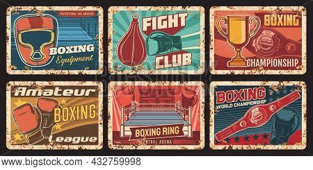 Boxing Championship, Sport Equipment Shop Rusty Metal Plates. Boxing Gloves And Headgear, Punching B