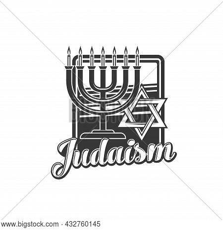 Judaism Religion Vector Icon With Jewish Menorah And Star Of David Religious Symbol. Ancient Hebrew