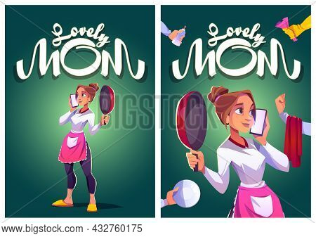 Lovely Mom Cartoon Posters, Young Housewife In Kitchen Apron Speaking By Smartphone With Cooking Pan