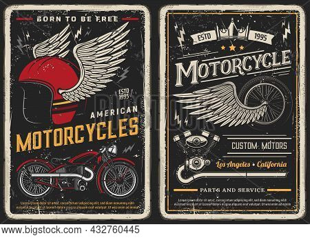 Bike And Motorcycle Vintage Posters. Custom Motors, Parts And Service Vintage Vector Cards For Biker