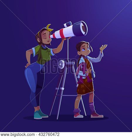 Girl And Woman Looking Through Telescope. Concept Of Astronomy Education, Cosmos Exploration And Dis