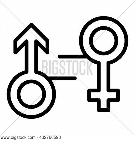 Social Gender Equality Icon Outline Vector. Equal Rights. Community Balance