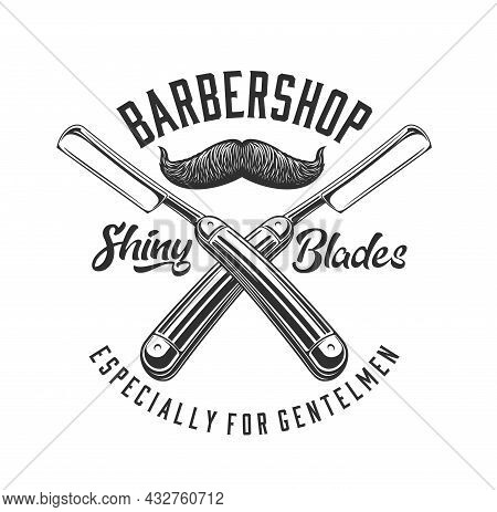 Barbershop Straight Razor And Mustache Icon Of Barber Shop Vector Design. Hair Cut And Beard Shave E