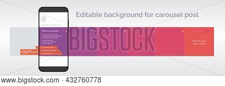 Editable Template For Carousel Post In Social Network. Design Background For Social Media. Vector Il