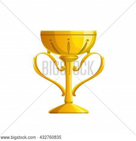 Golden Trophy Cup Vector Icon Of Isolated Winner Award Or Champion Prize. Gold Goblet Of Sport Champ