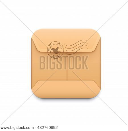 Mail Delivery Icon. Messaging And Sms Smartphone Application, Delivery Service Or E-mail App, 3d Vec