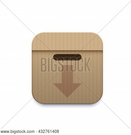 Archive Storage Icon With Paper Folders In Box. Data Backup, Information Downloading And Documents A