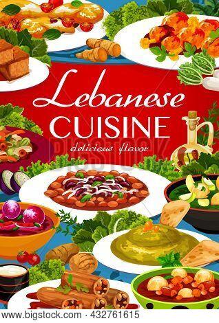 Lebanese Cuisine Menu Cover With Vector Arab Food Of Vegetable Soups, Hummus, Meat Bean Stew And Cak