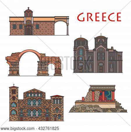 Greece Architecture, Antique Greek Buildings Of Thessaloniki And Crete, Vector Landmarks. Hagios Dem