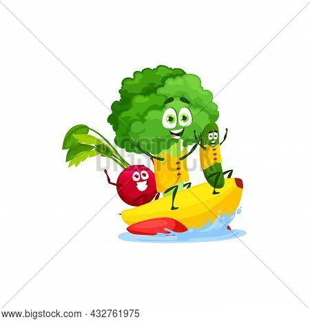 Radish, Broccoli And Cucumber Swimming On Water Banana Isolated Cute Cartoon Characters On Summer Re