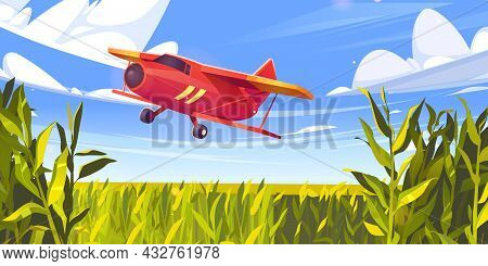 Crop Duster Plane Flying Over Green Corn Field, Farm Airplane In Blue Cloudy Sky. Agricultural Cropd