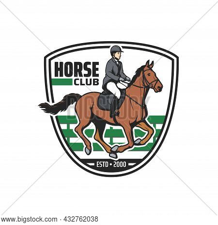 Horse Club Vector Icon With Jockey And Horse On Equestrian Sport Arena. Horseback Rider With Equine