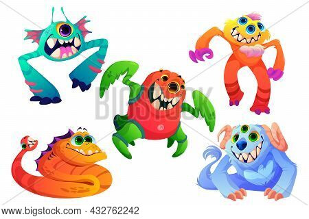 Cute Monsters, Little Alien Animals With Teeth, Horns, Many Eyes And Fur. Vector Cartoon Set Of Funn